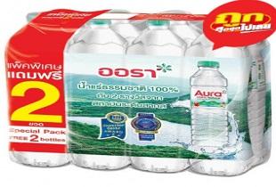 อากาศร้อน ผ่อนคลายด้วยน้ำแร่ธรรมชาติ Big C จัดโปรสุดคุ้ม น้ำดื่ม ออร่า 1500 ซีซี แพ็ค 6 ลดราคาพิเศษ เหลือเพียง 92 บาท เท่านั้น
