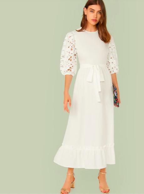 ส่วนลด SHEIN 14% สำหรับชุดเดรสยาว สีขาว เหลือเพียงแค่ 590 บาท