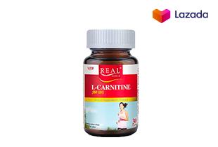 Real Elixir L-CARNITINE 500 mg. 30 แคปซูล **เผาผลาญไขมัน รูปร่างเพรียวกระชับ เพิ่มพลังงานให้ร่างกาย