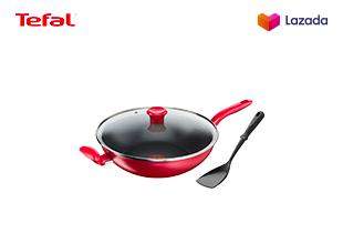 Tefal กระทะก้นลึก พร้อมฝาแก้ว ก้นอินดักชั่น Non-Stick ขนาด 30 ซม. รุ่น Pure Chef Plus + ตะหลิวผัด