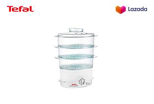 [ฟรี! กล่องถนอมอาหาร] Tefal Steamer หม้อนึ่งไฟฟ้าเพื่อสุขภาพ ขนาดความจุ 9ลิตร ความจุแท้งน้ำ 1.8 ลิตร กำลังไฟ 900 วัตต์ รุ่น VC1006 -White แถมฟรี!!! กล่องถนอมอาหาร MasterSeal Glass 0.2ลิตร มูลค่า 220 บาท