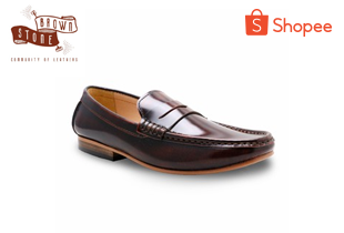 brown_stone | BROWN STONE Penny Leather Loafer European Brush Off Burgundy