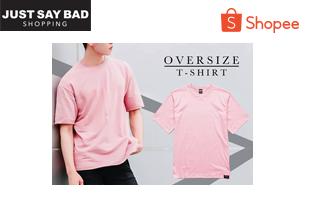 badsproject | Just Say Bad ® เสื้อสีพื้น Oversize แบบผ่าข้าง คอกลม แนวสตรีท รุ่น Basic Tee สีดำ ขาว ชมพู