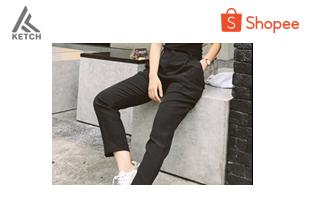 ketch.apparel | CITY PANTS PARIS กางเกงขายาวทรงเนี้ยบ ซิป+ตะขอหน้า สีดำ
