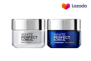 L'OREAL PARIS WHITE PERFECT CLINICAL DAY CREAM 50ml + OVERNIGHT TREATMENT ANTI SPOT WHITENING 50ml ลอรีอัล ปารีส ไวท์เพอร์เฟค คลินิคอล เดย์ครีม50มล. + ไนท์ ทรีทเมนท์50มล.