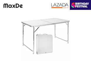 โต๊ะพับอลูมิเนียม พกพา ปรับความสูงได้ MaxDe