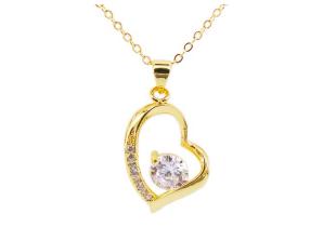 Diamond In Love Design จี้และสร้อยคอ เงิน 925 หุ้ม ทองคำ 24K